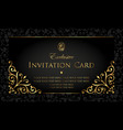 invitation card exclusive gold and black style vector image vector image