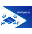 isometric big data network visualization advanced vector image vector image