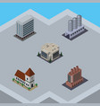 isometric construction set of office water vector image vector image