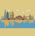 london colorful line art 4 vector image