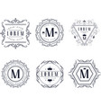 monogram logo templates set luxury business sign vector image