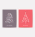ornate christmas tree holiday card xmas bell pine vector image