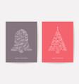 ornate christmas tree holiday card xmas bell pine vector image vector image
