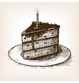 Piece of cake and candle hand drawn sketch vector image
