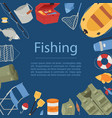 professional fishing equipment background with vector image vector image