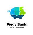 puzzle piggy bank creative logo template vector image