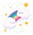 rainbow clouds stars dotted white background vector image vector image
