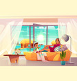 resting in luxury hotel apartment cartoon vector image