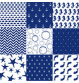 sea seamless patterns nautical design marine ele vector image vector image