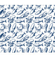 seafood pattern sea creatures fish vector image vector image