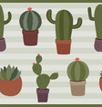 seamless pattern of various cacti vector image