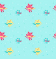 seamless pattern with cute winter cats vector image