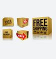 set cardboard box free shipping or free deli vector image vector image