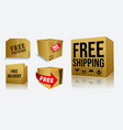 set of cardboard box of free shipping or free deli vector image vector image