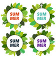 set of four labels with green summer leaves vector image vector image