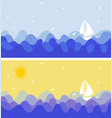 set of lanscapes with birds and ship sailing the vector image