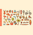 set of summer activity or sea vacation icons vector image