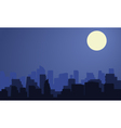 Silhouette of city with moon at the night vector image