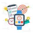 time management with smart watch vector image vector image