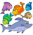 various cartoon fishes collection vector image