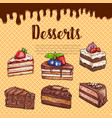 waffle poster with dessert cakes and pies vector image vector image