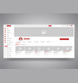 web browser youtube video channel user interface vector image