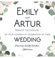 wedding invitation floral invite card with flowers vector image