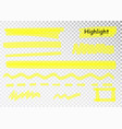 yellow highlighter marker strokes brush vector image vector image