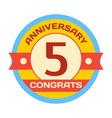 birthday fifth badge banner design flat vector image