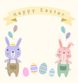happy easter card template with pastel cute vector image