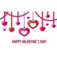 Happy valentines day card with red flat heart vector image
