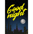night city with starry sky fool moon and vector image