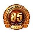 85 years anniversary golden label with ribbon vector image vector image