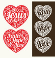 a set of hearts with christian inscriptions vector image
