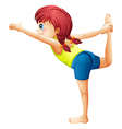 A small lady performing a yoga vector image vector image