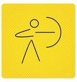 Archery sport icon Archer with longbow sign vector image vector image