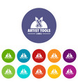 artist tool icons set color vector image vector image