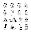 Baby Feeding Black Icons Set vector image vector image