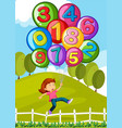balloons with numbers and little girl in park vector image vector image