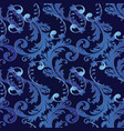 baroque 3d seamless pattern floral vintage black vector image