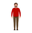bearded guy smiles happy man in red sweater good vector image