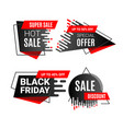 black friday sale banner or sticker set with vector image