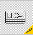 black line key card icon isolated on transparent vector image vector image