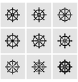 black rudder icon set vector image vector image