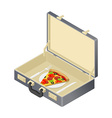 Business lunch pizza in case Suitcase with fast vector image