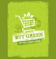 buy green eco shopping cart organic food nature vector image vector image