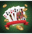 Cards of Poker and coins design vector image vector image