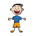 character happy boy kid outline vector image vector image