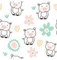 cute pigs characters colorful seamless pattern vector image vector image