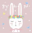 cute white bunny on bashower card invitation vector image